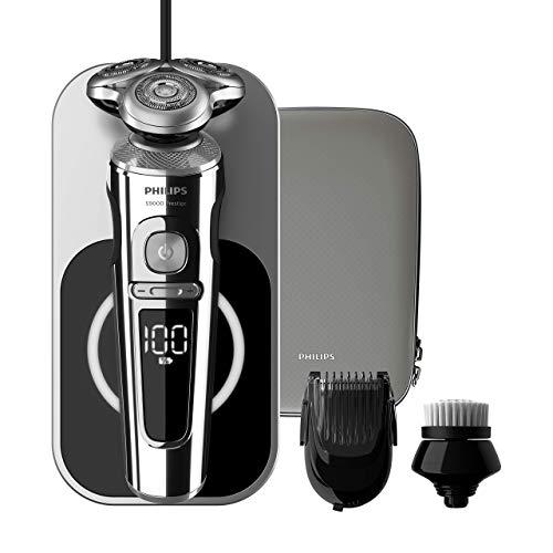 Philips Serie Prestige SP9863/14 - Afeitadora Eléctrica para Hombre Rotativa, con Base de Carga Inalambrica, Recortador de Barba, Cepillo limpiador, Estuche de Viaje, Inox
