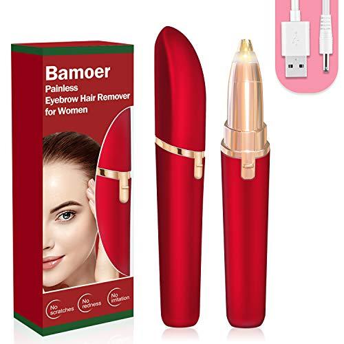 [2020 Nuevo]Depiladora para cejas,Eléctrica Depiladora Cejas Indolora,Depiladora Facial Para Mujeres Depiladora de Cejas Depiladora Facial con Cargador USB LED (Rojo)