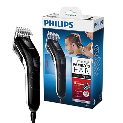 Philips QC5115/15 - Cortapelos silencioso con peine de 11 posiciones, compacto y ligero
