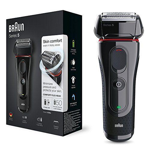 Braun Series 5 5030s - Afeitadora eléctrica de lámina para hombre (recortadora de precisión extraíble, recargable e inalámbrica) negro/rojo