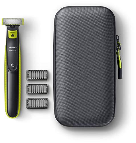 Philips QP2520/64 OneBlade - Pack de recortadora de barba con 3 peines-guía, estuche de viaje, uso en seco o en húmedo, recargable